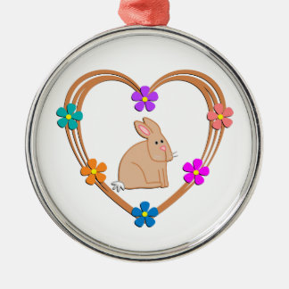 Rabbit Heart Metal Ornament