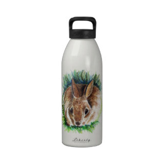 Rabbit Hiding in the Grass - Watercolor Pencil Water Bottle