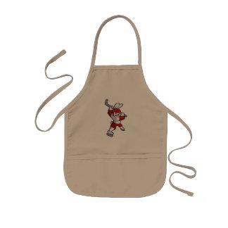 rabbit hockey cartoon kids' apron