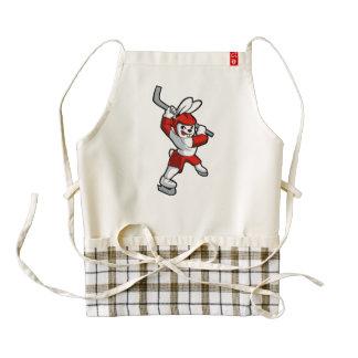 rabbit hockey cartoon zazzle HEART apron