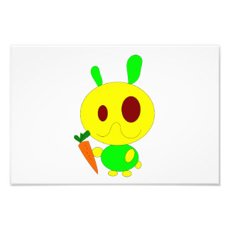 Rabbit holding a carrot cartoon photographic print