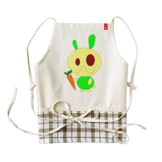 Rabbit holding a carrot cartoon zazzle HEART apron