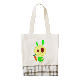 Rabbit holding a carrot cartoon zazzle HEART tote bag