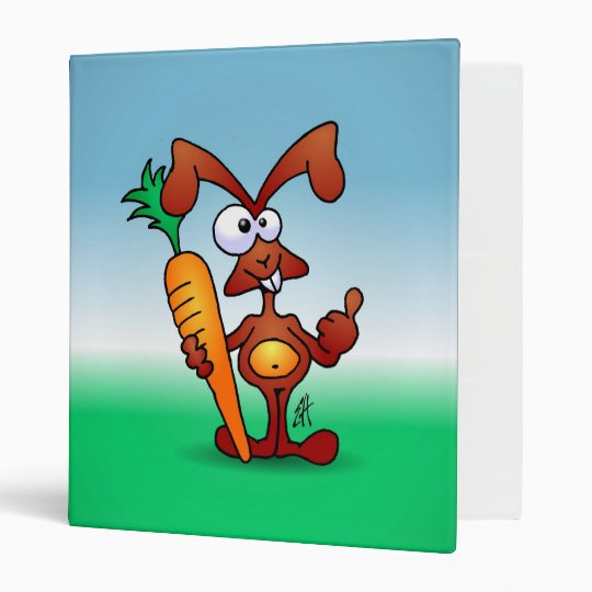 Rabbit holding a healthy carrot 3 ring binder