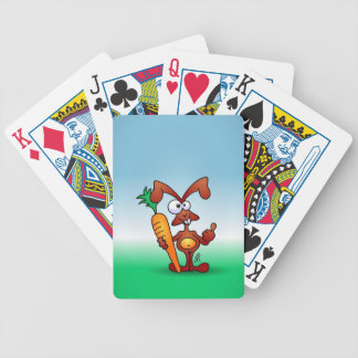 Rabbit holding a healthy carrot bicycle playing cards