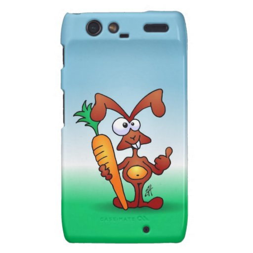 Rabbit holding a healthy carrot droid RAZR covers