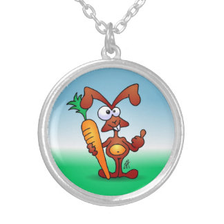 Rabbit holding a healthy carrot silver plated necklace