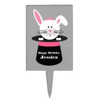 Rabbit In A Hat Birthday Cake Pick - Pink