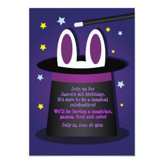 "Rabbit in a Hat Magic Show Invitations 5"" X 7"" Invitation Card"