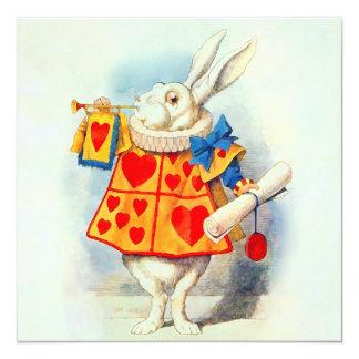 "Rabbit in Alice Wonderland ~ Invitation 5.25"" Square Invitation Card"