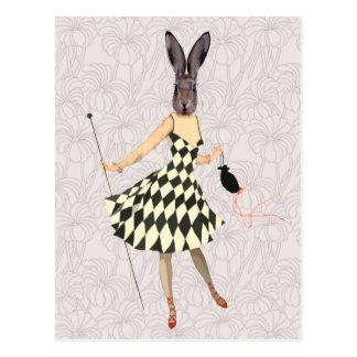 Rabbit in Black White Dress 2 Postcard