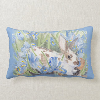 Rabbit in Blue Dutch Irises Lumbar Pillow