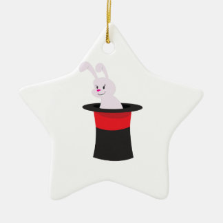 Rabbit in Hat Double-Sided Star Ceramic Christmas Ornament
