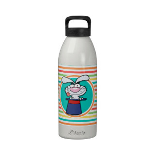 Rabbit in Hat on Bright Rainbow Stripes Water Bottles