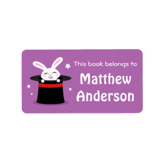 Rabbit in magicians hat and stars bookplate book address label