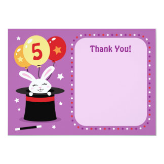 Rabbit in magicians hat birthday party thank you 4.5x6.25 paper invitation card