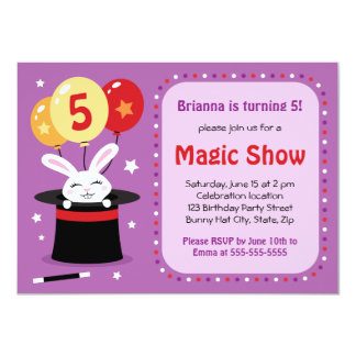 Rabbit in magicians hat magic show birthday party 4.5x6.25 paper invitation card