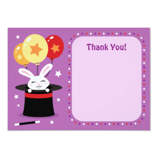 """Rabbit in magicians hat magic show party thank you 4.5"""" x 6.25"""" invitation card"""