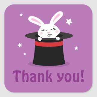 Rabbit in magicians hat magic show party thank you square sticker