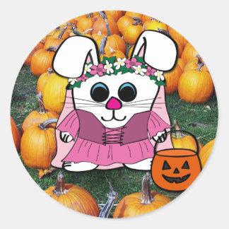Rabbit in Medieval Dress in Pumpkin Patch Classic Round Sticker