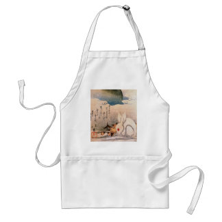 Rabbit in Snow - Japanese - by Hokushū Adult Apron