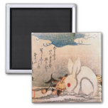 Rabbit in Snow - Japanese - by Hokushū 2 Inch Square Magnet