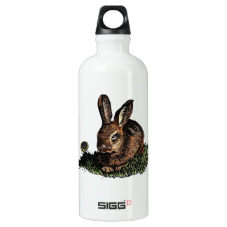 Rabbit in the Grass Etching Aluminum Water Bottle