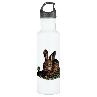 Rabbit in the Grass Etching Water Bottle