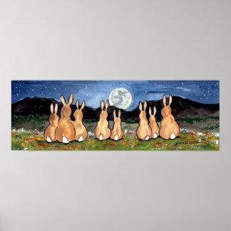 Rabbit in the Moon Bunny Family Moon Poster Navy