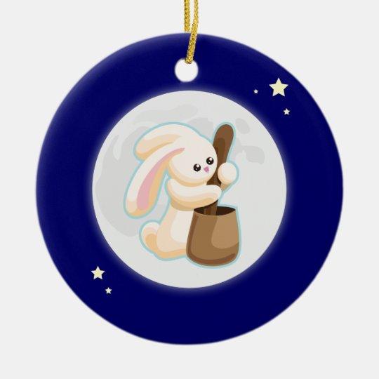 Rabbit in the Moon Ceramic Ornament