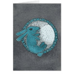 Rabbit in the Moon Greeting Card (blue)