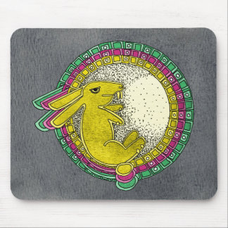 Rabbit in the Moon Mousepad(green/pink/yellow blk) Mouse Pad