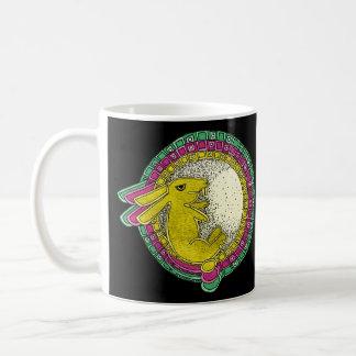 Rabbit in the Moon Mug (green/pink/yellow)
