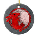 Rabbit in the Moon Ornament (red and green)