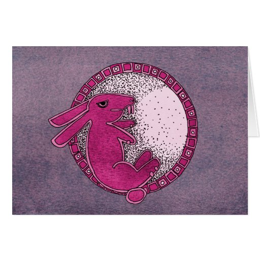 Rabbit in the Moon (pink/purple) Cards