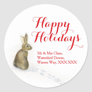 Rabbit in the snow Christmas address gift labels Sticker