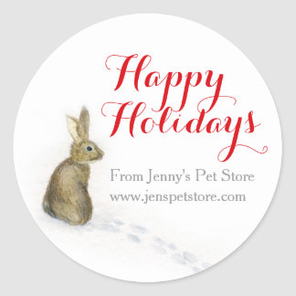 Rabbit in the snow Christmas address gift labels Stickers