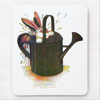 Rabbit in Watering Can Mousepads