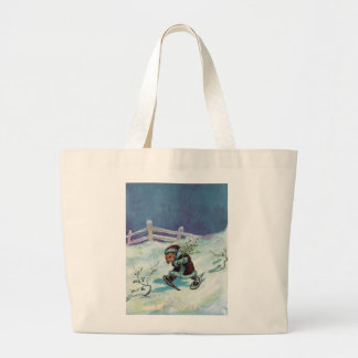 Rabbit in Winter Coat and Snowshoes Tote Bag