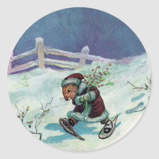 Rabbit in Winter Coat and Snowshoes Classic Round Sticker