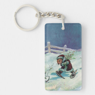 Rabbit in Winter Coat and Snowshoes Keychain