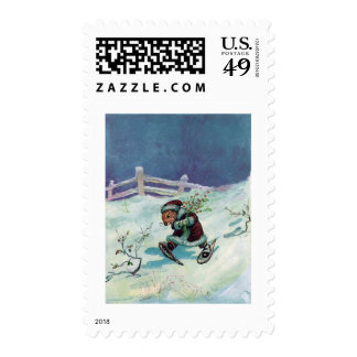 Rabbit in Winter Coat and Snowshoes Postage Stamp