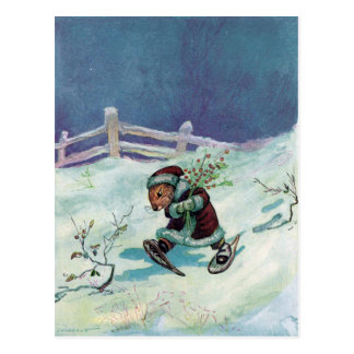 Rabbit in Winter Coat and Snowshoes Postcard