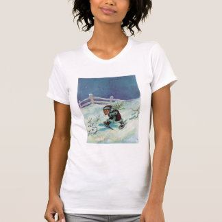 Rabbit in Winter Coat and Snowshoes T-Shirt