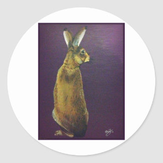 Rabbit.jpg púrpura pegatina redonda