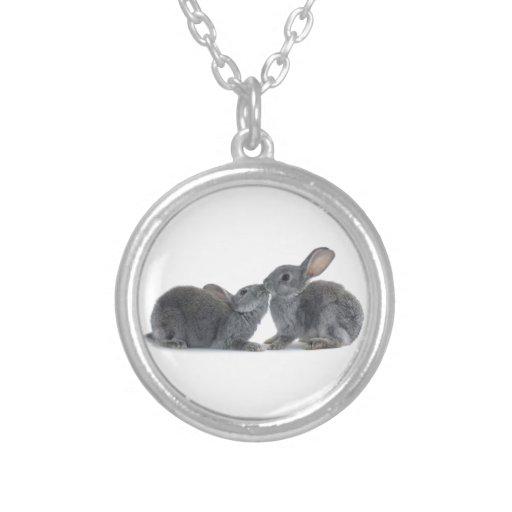 Rabbit Kiss Round Pendant Necklace