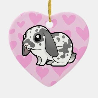Rabbit Love (floppy ear smooth hair) Ceramic Ornament