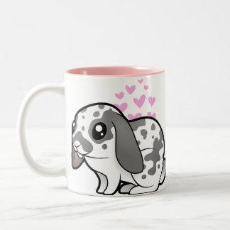 Rabbit Love (floppy ear smooth hair) Two-Tone Coffee Mug