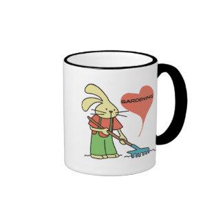 Rabbit Love Gardening Tshirts and gifts Ringer Coffee Mug