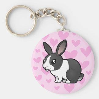 Rabbit Love (uppy ear smooth hair) Basic Round Button Keychain